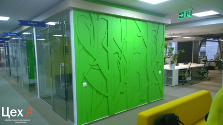 Дизайнерское оформление стен в офисе