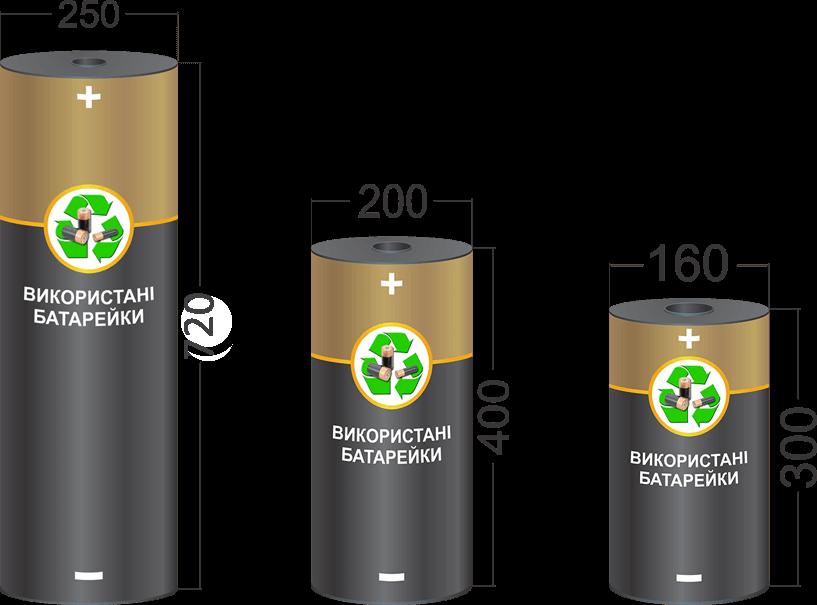 Розміри боксів, контейнерів для збору батарейок