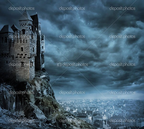 Landscape with old castle at night