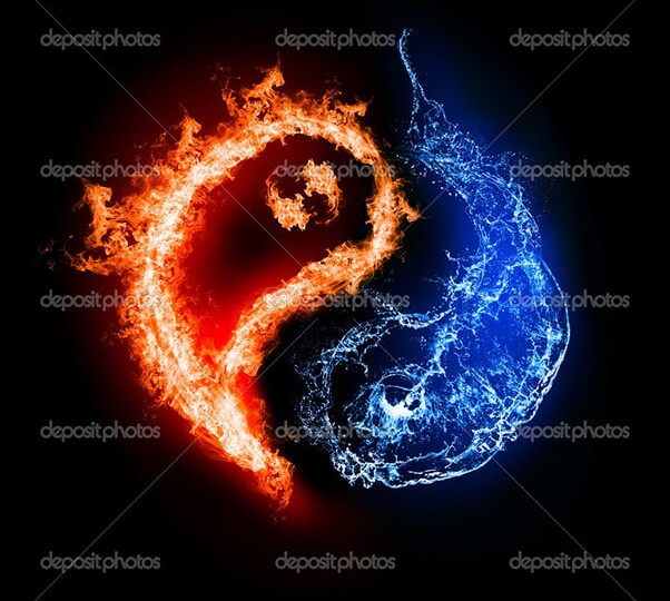 Symbol of yin and yang of the dark background in the form of fire and water. The sign of the two elements.