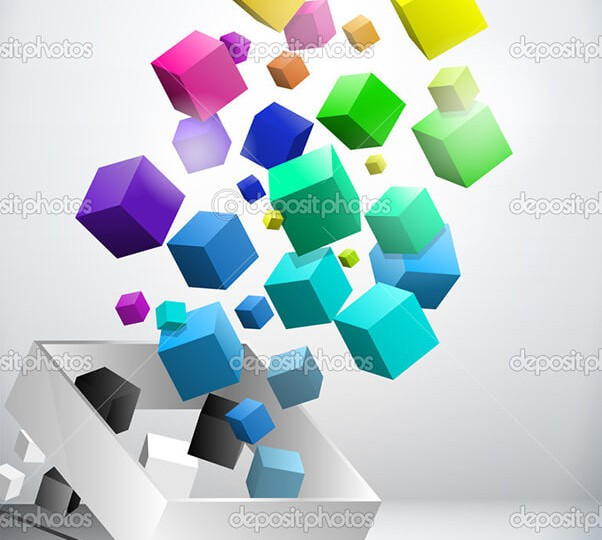 Vector - Colorful Flying Cubes Background
