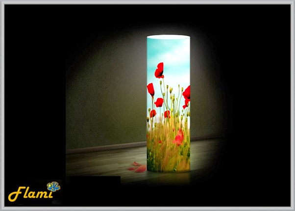 Светильник в интерьере из пластика Маки желтые