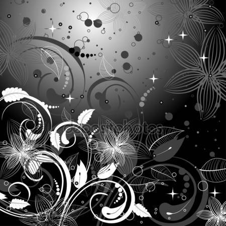 Принт для дизайнерского светильника - Абстракция черные цветы