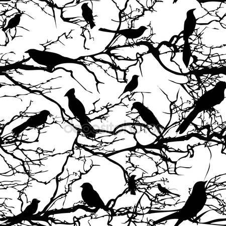 Принт для дизайнерського світильника - Птахи на гілках