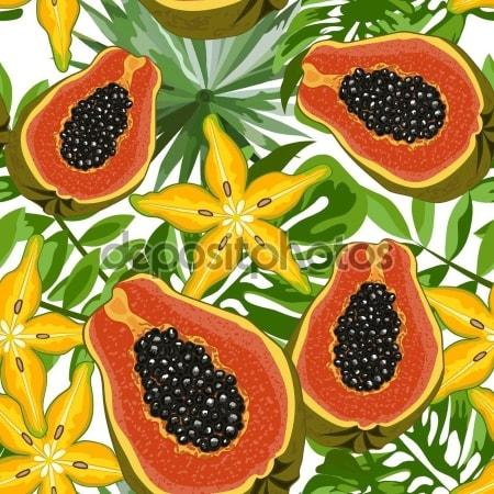 Принт для дизайнерского светильника - Тропические фрукты