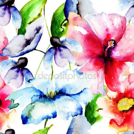 Принт для дизайнерского светильника - Цветы краской