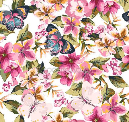 Принт для дизайнерского светильника - Бабочки на цветах