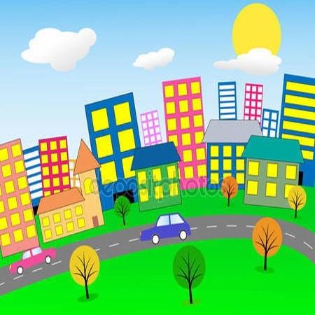 Принт для дизайнерського дитячого світильника - Містечко