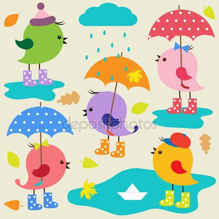 Принт для дизайнерского детского светильника - Птицы под зонтом