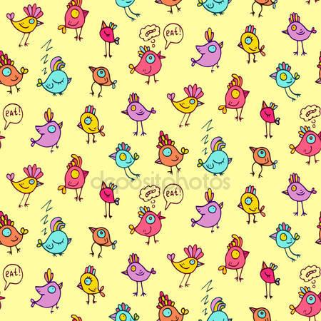 Принт для дизайнерского детского светильника - Забавные птицы