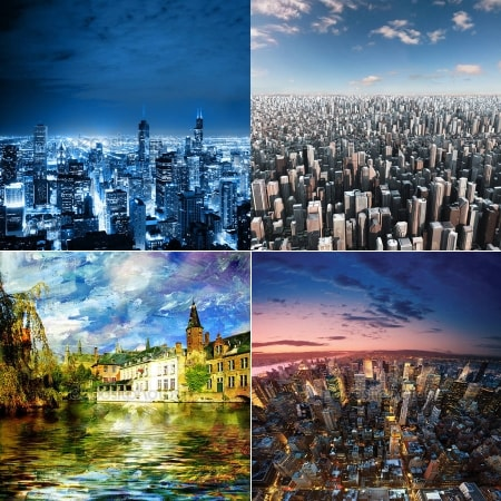 Изображения для светильников с фотобанка - тематика Города