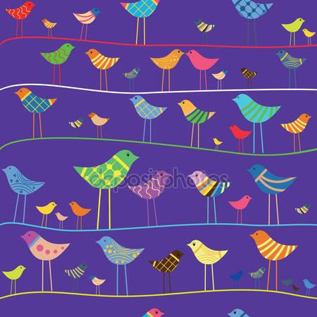 Принт для дизайнерского детского светильника - Птички