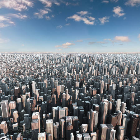 Принт для дизайнерского светильника - Современный город