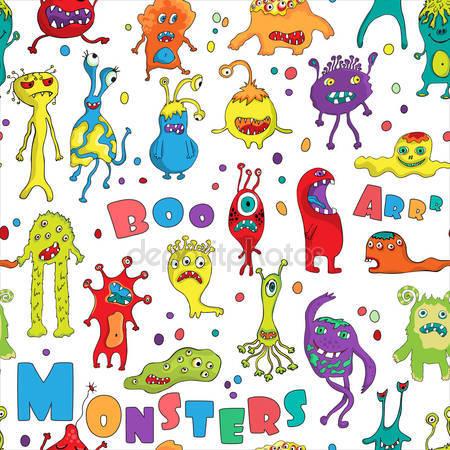 Принт для дизайнерского детского светильника - Монстры