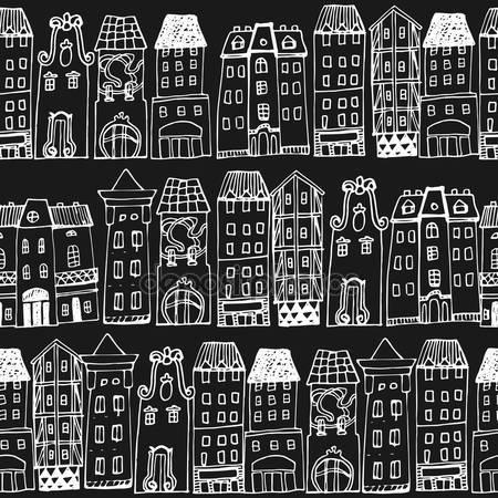 Принт для дизайнерского светильника - Рисованный город