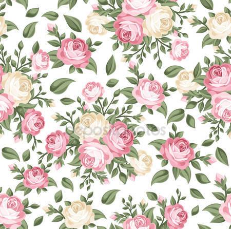 Принт для дизайнерского светильника - Розовые и белые розы