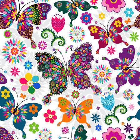 Принт для дизайнерского светильника - Весенние бабочки