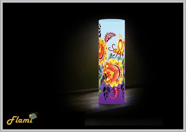 Дизайнерский светильник Flami с элементами Петриковской росписи