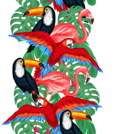 Принт для дизайнерского светильника - Тропические птицы