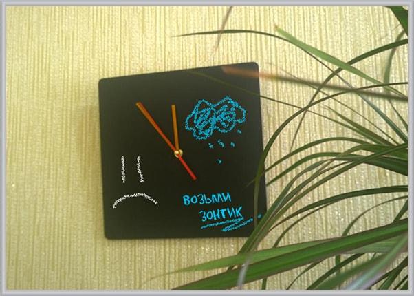 Квадратные часы для написание мелом