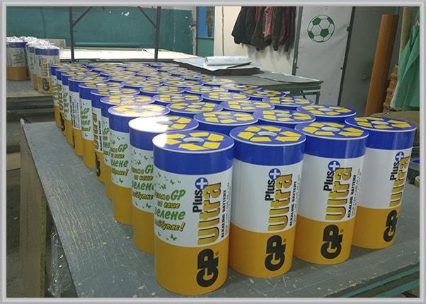 Серійне виробництво боксів, контейнерів для збору використаних батарейок