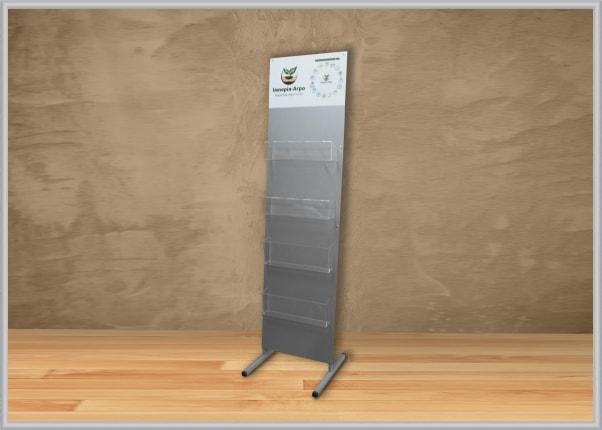 Напольная стойка, стенд для полиграфии с объемными акриловыми карманами