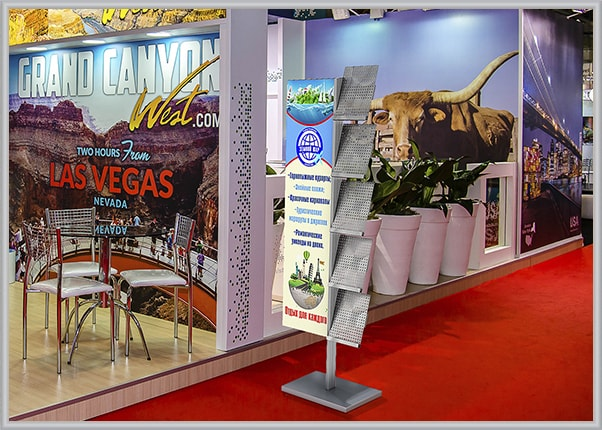 Напольная стойка, стенд с карманами для туристической выставки