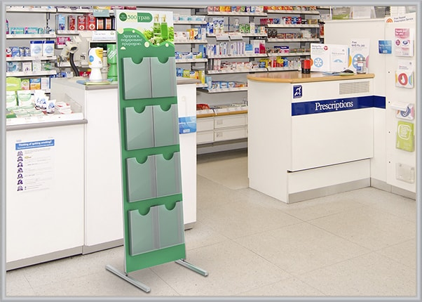 Напольный информационный стенд под полиграфию для аптек
