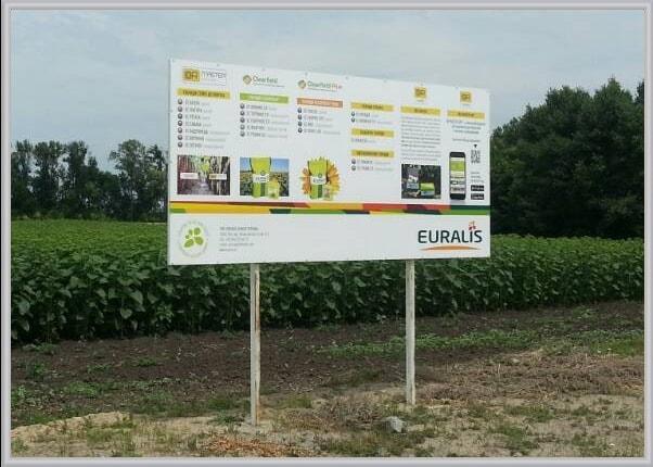 Наземный, вкапываемый информационный щит на металлической опоре для аграрной компании Euralis