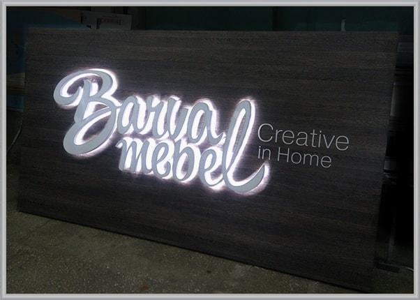 Рекламное панно для оформления интерьера мебельного магазина - буквы с подсветкой контражур