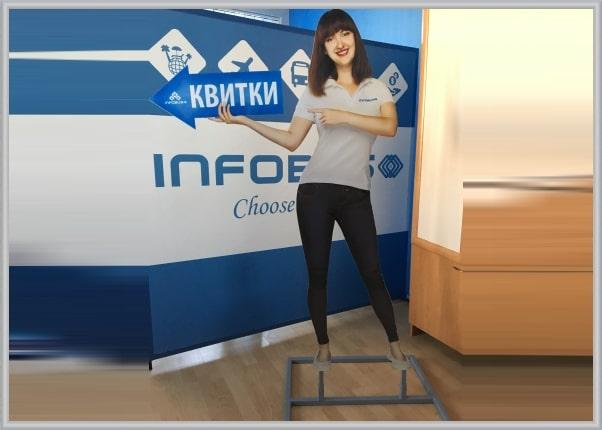 Ростовая фигура девушки с указателем (стрелкой) для офиса компании