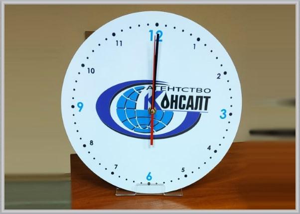 Настінний годинник з логотипом, символікою компанії - брендування годинників