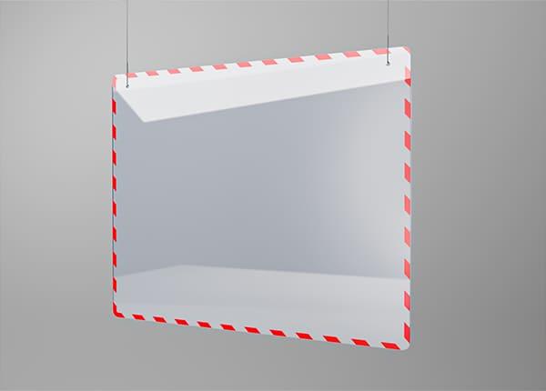 Прозрачная акриловая подвесная защитная перегородка между кассой (продавцом) и покупателем