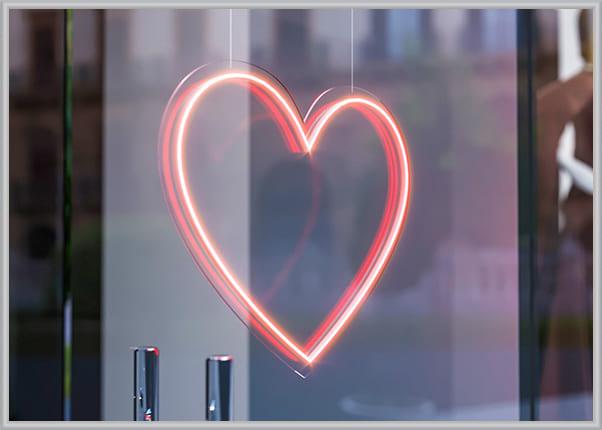 Светильник в форме сердца из гибкого (LED, флекс) неона