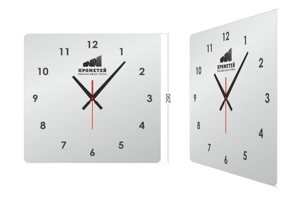 Характеристики, размер настенных часов с логотипом КВ-0043