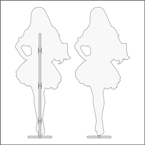 Схема, технические характеристики интерьерной ростовой фигуры девушки