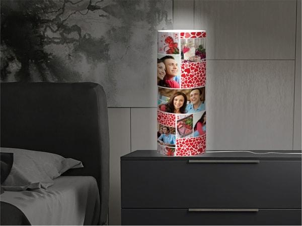 Настольный светильник с фотографиями, коллажем