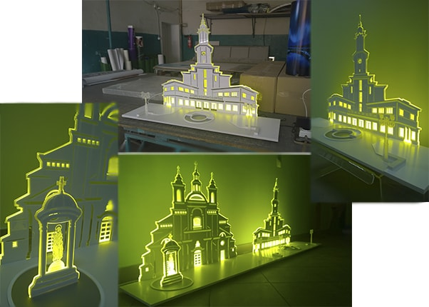 Световая панель - макет здания городской Ратуши