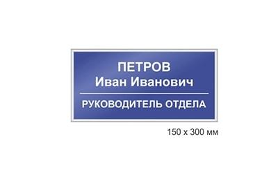 Офисная табличка, на дверь офиса в багетной рамке, профиле Nielson 150*300мм